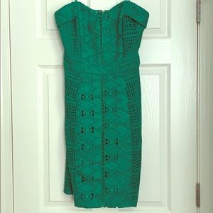 Green lace strapless dress